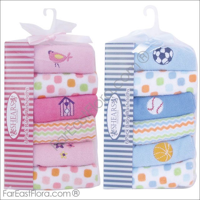 AY21 Shears 6-pc Baby Washcloths (Blue/Pink)