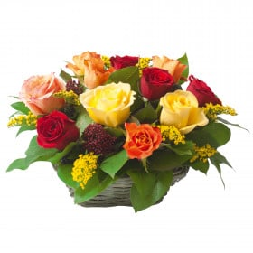 FRP010 Mixed Roses Table Arrangement (1PE)